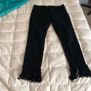 Blank NYC black denim with fringe bottom